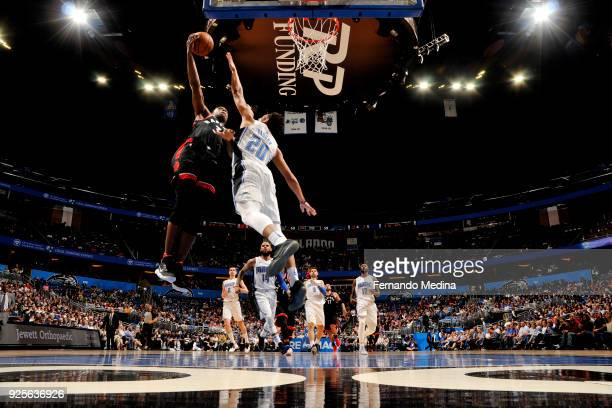 Anunoby of the Toronto Raptors shoots the ball against Rashad Vaughn of the Orlando Magic during the game between the two teams on February 28 2018...
