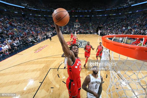 Anunoby of the Toronto Raptors shoots the ball against the New Orleans Pelicans on November 15 2017 at the Smoothie King Center in New Orleans...