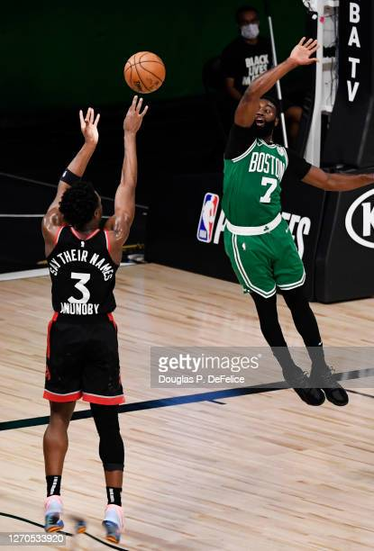 Anunoby of the Toronto Raptors shoots the winning basket against the Boston Celtics in Game Three of the Eastern Conference Second Round during the...
