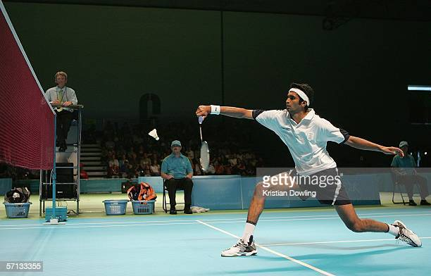Anup Sridhar of Sri Lanka in action during the Badminton Bronze Medal Match against John Moody of Sri Lanka at the Melbourne Exhibition Centre during...