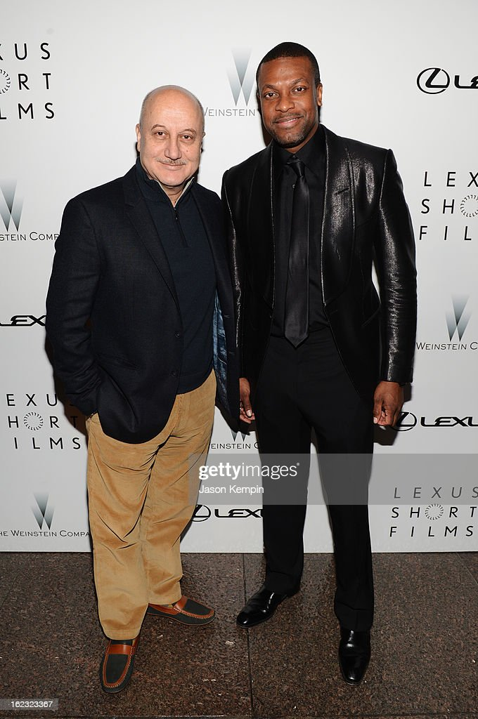 Anupam Kher and Chris Tucker attend Lexus Short Film Series 'Life Is Amazing' presented by The Weinstein Company and Lexus at DGA Theater on February 21, 2013 in Los Angeles, California.