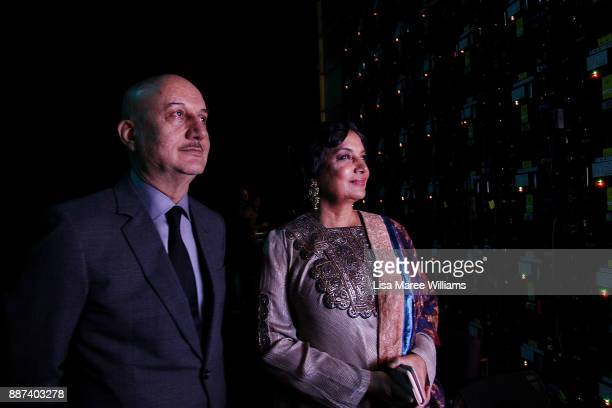 EDITORS NOTE Anupam Kher and Shabana Azmi look at a screen backstage during the 7th AACTA Awards Presented by Foxtel at The Star on December 6 2017...