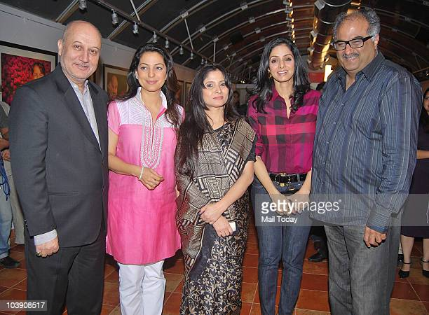 Anupam Kher with Juhi Chawla Geeta Dass Sridevi and Boney Kapoor during the inauguration of artist Geeta Dass's exhibition of paintings based on...