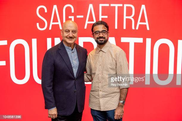Anupam Kher with moderator Pulkit Datta discuss 'New Amsterdam' during SAGAFTRA Foundation Conversations at The Robin Williams Center on October 9...