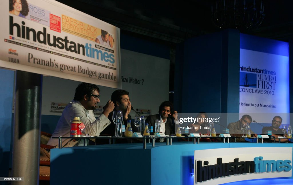 Anurag Kashyap, Karan Johar, Mayank Shekhar, Vidya Balan, Dibakar Banerjee and R. Balki at the second session on Governance at the Hindustan Times Mumbai first Conclave 2010 at ITC Grand Central.