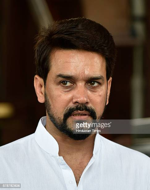 Anurag Thakur member of Lok Sabha from Hamirpur in Himachal Pradesh and BCCI President during the Monsoon Session of Parliament on July 22 2016 in...