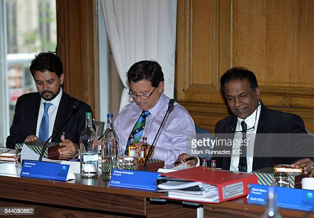 Anurag Thakur of India David Peever of Australia and Thilanga Sumathipala of Sri Lanka during a meeting of the ICC Board at The Waldorf Astoria The...