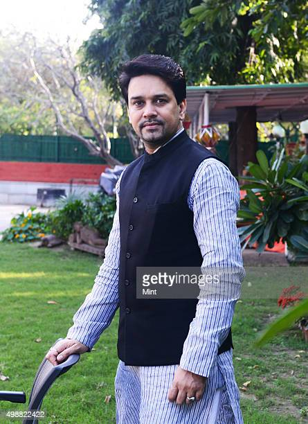BJP MP Anurag Thakur poses for a profile shoot at his residence on March 4 2015 in New Delhi India