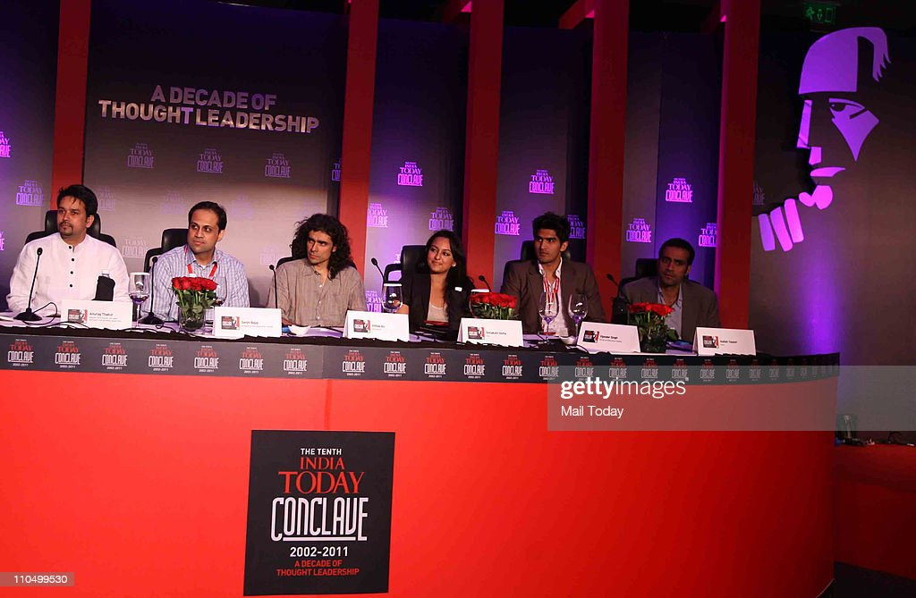 Anurag Thakur Sanjiv Bajaj Imtiaz Ali Sonakshi Sinha Vijender Singh and Aatish Taseer during 10th India Today Conclave being held in the capital on...
