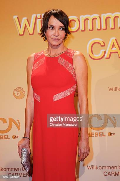 Anuschka Renzi attends the red carpet of the television show 'Willkommen bei Carmen Nebel' at Velodrom on September 19 2015 in Berlin Germany