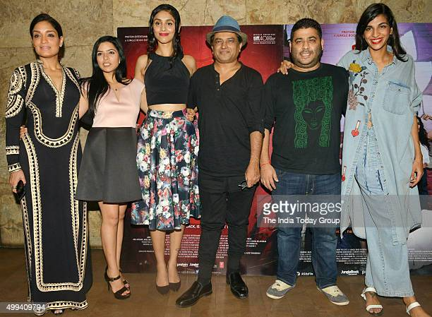 Anushka Manchanda Sandhya Mridul Tannishtha Chatterjee and Amrit Maghera at the screening of their movie Angry Indian Goddesses in MumbaiPhoto by...