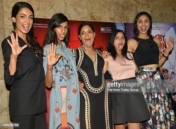 Anushka Manchanda SarahJane Dias Sandhya Mridul Tannishtha Chatterjee and Amrit Maghera at the screening of their movie Angry Indian Goddesses in...