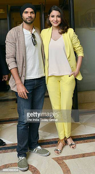 Anushka Sharma and his co star Neel in New Delhi for promotional tour of their upcoming movie NH10