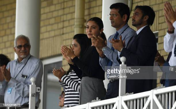 Anushka Sharma wife of India captain Virat Kohli applauds his husband during day three of the Specsavers 3rd Test match between England and India at...
