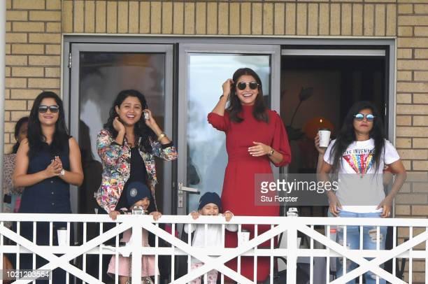 Anushka Sharma wife of India captain Virat Kohli looks on from the crowd during day 5 of the 3rd Test Match between England and India at Trent Bridge...