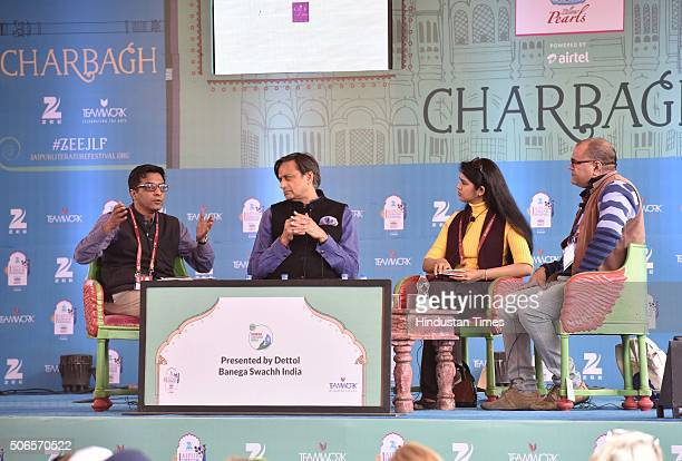 Anustup Nayak Congress MP Shashi Tharoor Sanchaita Gajapati Raju and story writer novelist Desraj Kali during the session 'Swachh Bharat The India...
