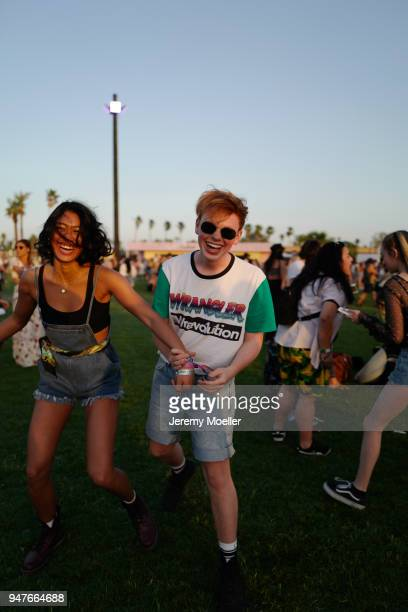 Anuthida Ploypetch and Erik Scholz wearing a Wrangler Short and TShirt during day 1 of the 2018 Coachella Valley Music Arts Festival Weekend 1 on...