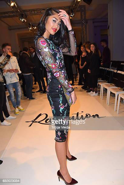Anuthida Ploypetch attends the Marcel Ostertag show during the MercedesBenz Fashion Week Berlin A/W 2017 at Delight Rental Studios on January 18 2017...