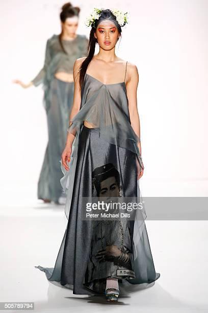 Anuthida Ploypetch walks the runway at the Anja Gockel show during the MercedesBenz Fashion Week Berlin Autumn/Winter 2016 at Brandenburg Gate on...