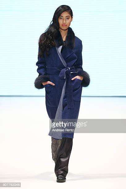 Anuthida Ploypetch walks the runway at the Meerstein show as part of Beate Heymann Meerstein during Platform Fashion January 2016 at Areal Boehler on...