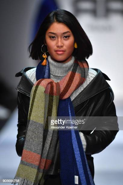 Anuthida Ploypetch walks the runway at the Riani show during the MBFW Berlin January 2018 at ewerk on January 16 2018 in Berlin Germany
