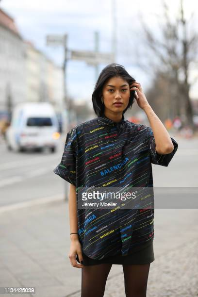 Anuthida Ploypetch wearing a Balenciaga shirt and Buffalo shoes on March 07 2019 in Berlin Germany