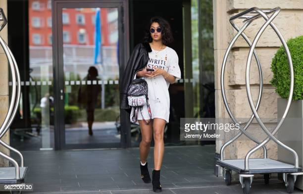 Anuthida Ploypetch wearing Gucci boots on May 02 2018 in Munich Germany
