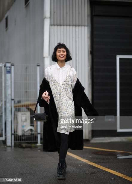 Anuthida Ploypetch wearing Lala Berlin dress and bag before LalaBerlin on January 30, 2020 in Copenhagen, Denmark.