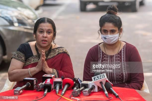 Anvay Naik's wife Akshata Naik and daughter Adnya Naik address to media during a press conference after EditorinChief of Republic TV Arnab Goswami's...