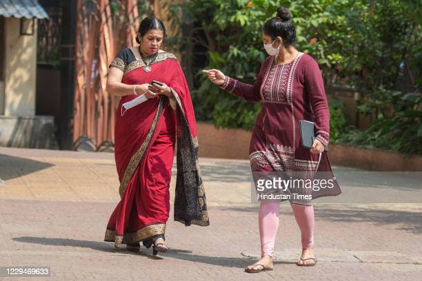 Anvay Naik's wife Akshata Naik and daughter Adnya Naik arrive to address a press conference after EditorinChief of Republic TV Arnab Goswami's arrest...