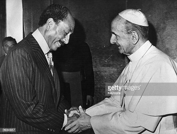 Anwar al Sadat Egyptian army officer and political leader receiving a private audience with Pope Paul VI at the Vatican Original Publication People...