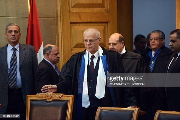 Anwar alAssy vice president of Egypt's constitutional court attends a session to rule on the law organising the upcoming parliamentary elections on...