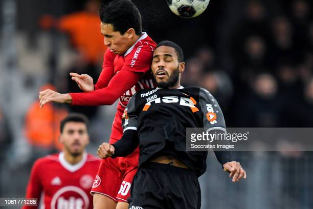 Anwar Bensabouh of Almere City Boy Deul of FC Volendam during the Dutch Keuken Kampioen Divisie match between Almere City v FC Volendam at the Yanmar...