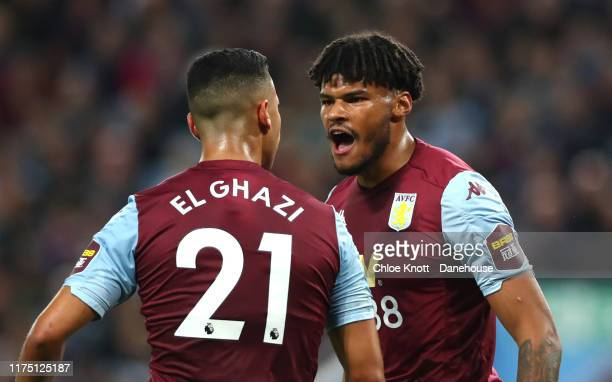 Anwar El Ghazi and Tyrone Mings of Aston Villa United argue during the Premier League match between Aston Villa and West Ham United at Villa Park on...