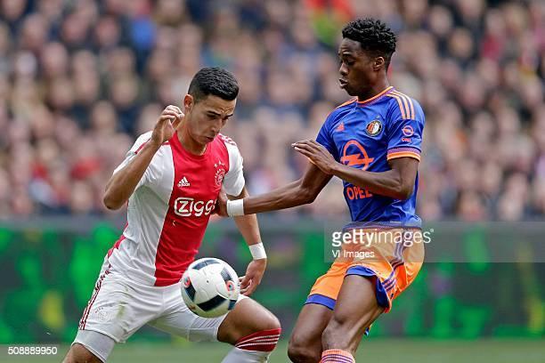 Anwar El Ghazi of Ajax Terence Kongolo of Feyenoord during the Dutch Eredivisie match between Ajax Amsterdam and Feyenoord Rotterdam at the Amsterdam...