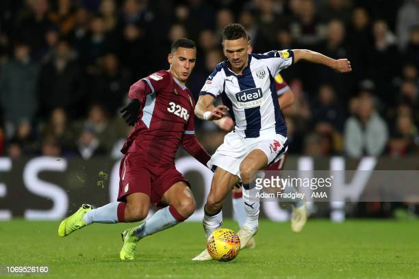 Anwar El Ghazi of Aston Villa and Kieran Gibbs of West Bromwich Albion during the Sky Bet Championship match between West Bromwich Albion and Aston...