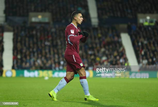 Anwar El Ghazi of Aston Villa celebrates after scoring a goal to make it 12 during the Sky Bet Championship match between West Bromwich Albion and...