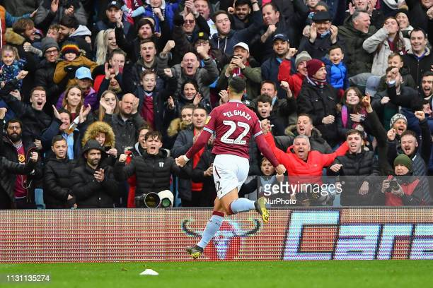 Anwar El Ghazi of Aston Villa celebrates after scoring a goal to make it 10 during the Sky Bet Championship match between Aston Villa and...