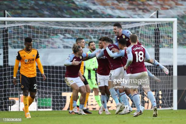 Anwar El Ghazi of Aston Villa celebrates after scoring a goal to make it 0-1 during the Premier League match between Wolverhampton Wanderers and...