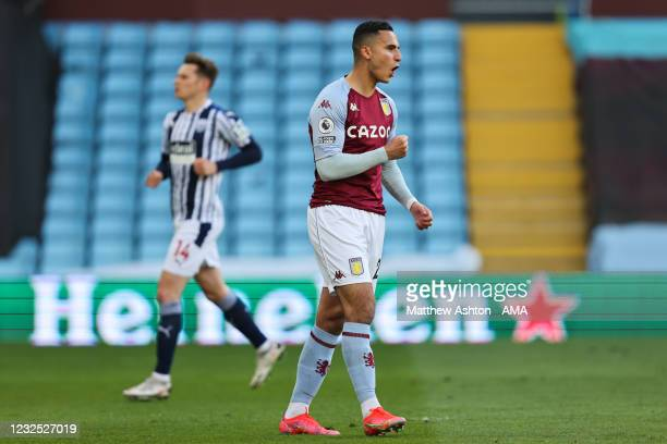 Anwar El Ghazi of Aston Villa celebrates after scoring a goal to make it 1-0 during the Premier League match between Aston Villa and West Bromwich...