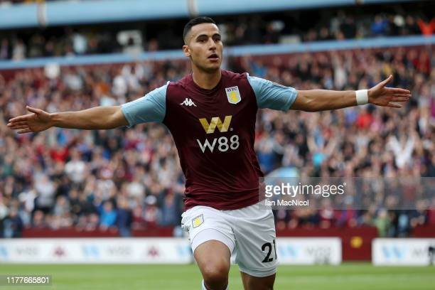 Anwar El Ghazi of Aston Villa celebrates after scoring his team's first goal during the Premier League match between Aston Villa and Burnley FC at...