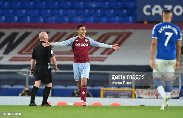 Anwar El Ghazi of Aston Villa celebrates after scoring their side's second goal during the Premier League match between Everton and Aston Villa at...
