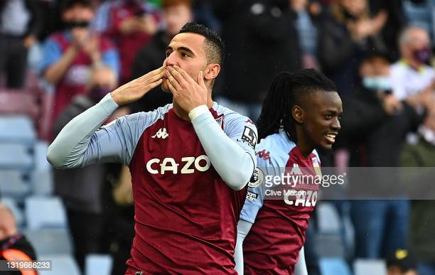 Anwar El Ghazi of Aston Villa celebrates after scoring their side's second goal during the Premier League match between Aston Villa and Chelsea at...