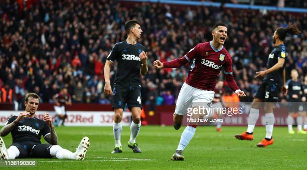 Anwar El Ghazi of Aston Villa celebrates his goal during the Sky Bet Championship match between Aston Villa and Middlesbrough at Villa Park on March...