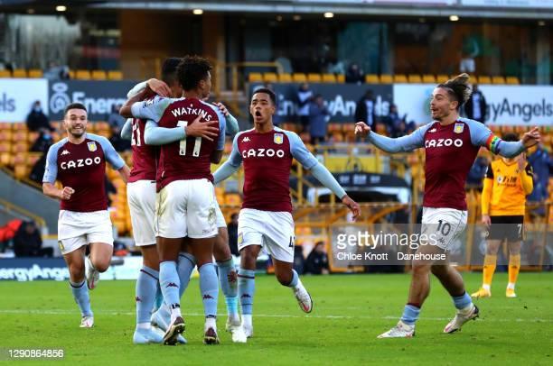 Anwar El Ghazi of Aston Villa celebrates scoring his teams first goal during the Premier League match between Wolverhampton Wanderers and Aston Villa...