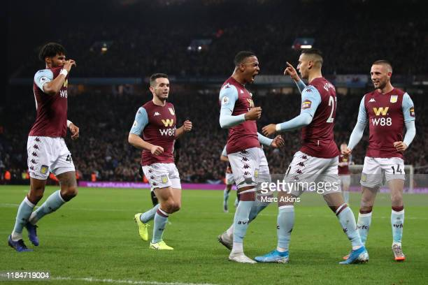 Anwar El Ghazi of Aston Villa celebrates scoring their 2nd goal among team mates during the Premier League match between Aston Villa and Newcastle...