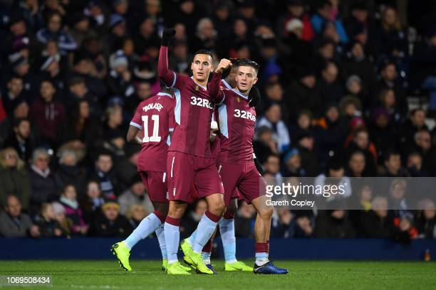 Anwar El Ghazi of Aston Villa celebrates scoring their second goal during the Sky Bet Championship match between West Bromwich Albion and Aston Villa...