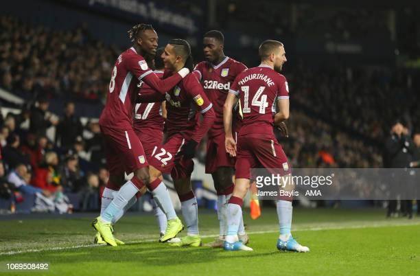 Anwar El Ghazi of Aston Villa celebrates with his team mates after scoring a goal to make it 12 during the Sky Bet Championship match between West...