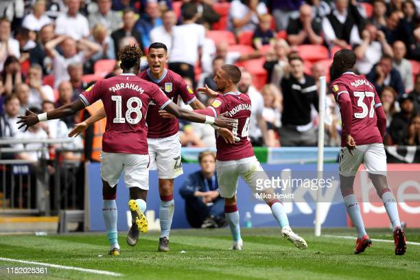Anwar El Ghazi of Aston Villa celebrates with his teammates after he scores his sides first goal during the Sky Bet Championship Playoff Final match...