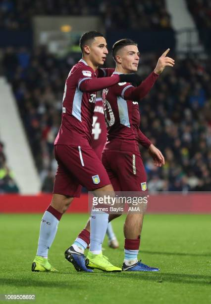 Anwar El Ghazi of Aston Villa celebrates with Jack Grealish of Aston Villa after scoring a goal to make it 12 during the Sky Bet Championship match...